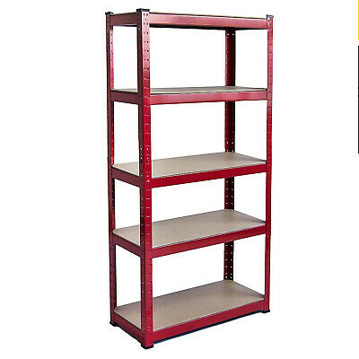 Heavy Duty 5 Tier Metal Garage Shelving Unit Boltless Storage Shelves Shed - Red