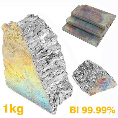 1kg Pure Bismuth Ingot 99.99% High Purity Particles Metal Bi