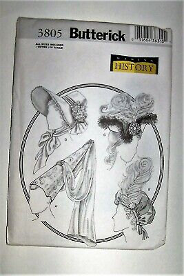 Butterick 3805 Historical Hats Sewing Pattern UNCUT