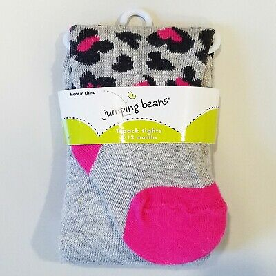 New! NWT Jumping Beans Girls 3-12 Month Leopard Print Gray Tights Pink Accents