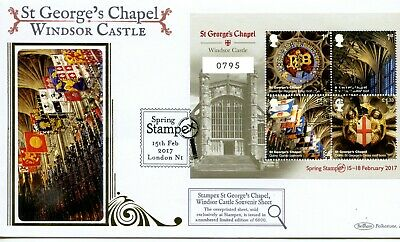 2017 St George's Chapel Stampex Opt M/Sheet Great Britain Benham Blcs Fdc 2/250