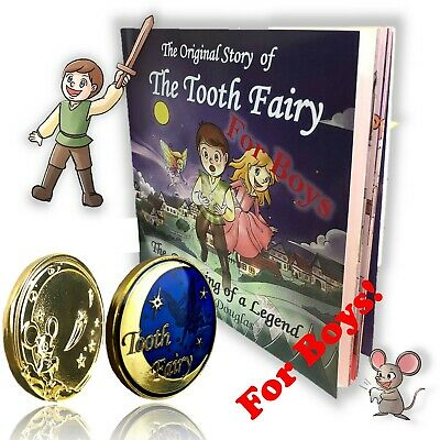 FOR BOYS!  Tooth Fairy Gift Set Gold Coin and Tooth Fairy Book