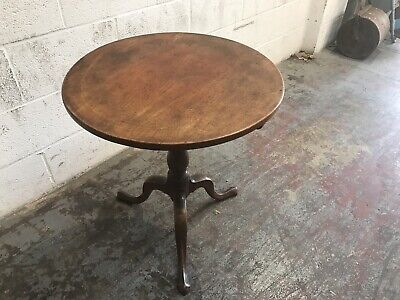 Antique 1700's Georgian Mahogany Tilt Top Table Occasional Side Lamp Table