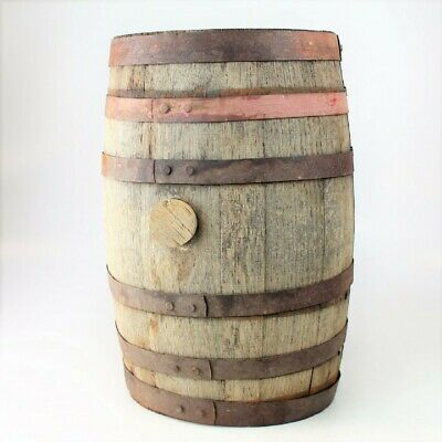 "Antique Banded 18"" tall Wooden Whiskey Wine Distillery Keg Barrel with bung"