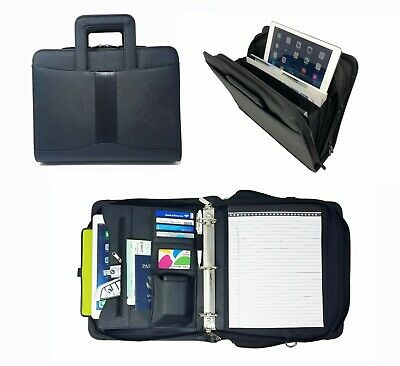 Leatherette 3-RING BINDER FOLDER PORTFOLIO ORGANIZER PLANNER & BRIEFCASE HANDLE