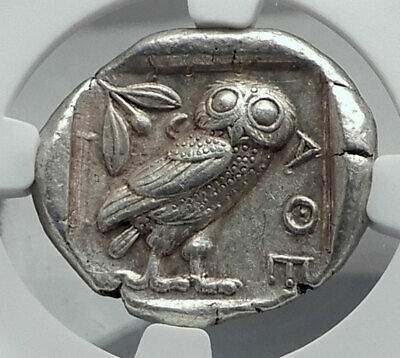 ATHENS Greece 455BC Ancient Silver Greek TETRADRACHM Coin Athena Owl NGC i80942