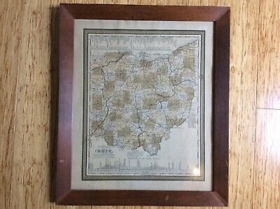 Framed Original 1849 Map of OHIO, Canals, Roads, Distances, Mitchell Publishing