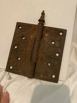 VINTAGE Cast Iron Ornate Victorian Door Hinge 6 inch x 6 inch Steeple Pin
