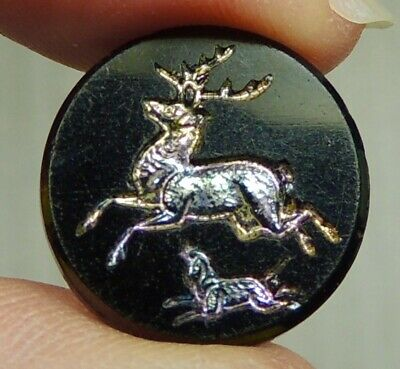 Antique Black Glass Picture Button ~ Deer Chased By Dog W/ Iridescent Luster