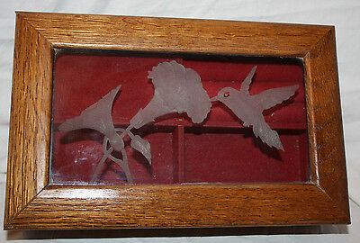 Handcrafted Wooden Frosted Hummingbird & Petunia Flower Musical Jewelry Box