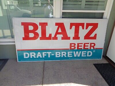 """1960'S Vintage Blatz Beer Tin Sign Large  Size  45""""  By 7'  6""""  Great Condition"""