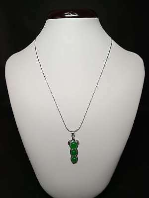 Exquisite Silver Inlaid Natural Jade Necklace z8019
