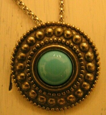"""Mma Sterling Silver Round Pendant W/ Turquoise Stone  & 18""""  925 Chain Signed"""