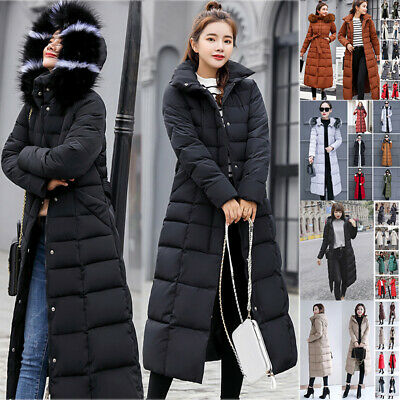 Women Winter Warm Jacket Ladies Hooded Fur Collar Parka Quilted Long Puffer Coat