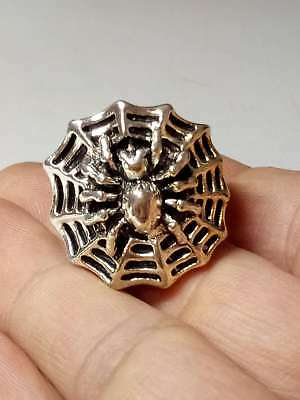 Chinese Collectable Tibet Silver Hand Carved Spider Ring  Q908