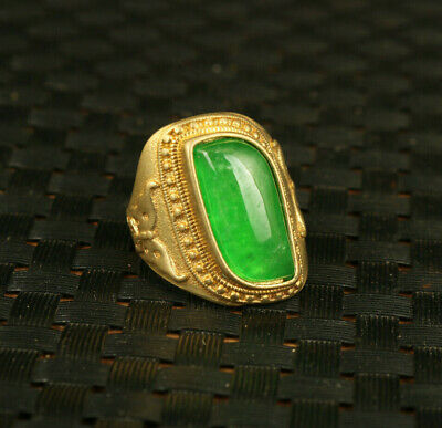 rare china old brass gilding inlay jadeite hand carving ring collectable gift
