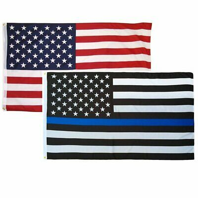 2 Pack 3x5 ft Thin Blue Line Police Support + U.S. American Flag Sewn Stripes