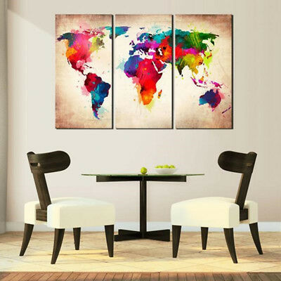 3Pcs Abtract World Map Canvas Print Oil Painting Wall Art Picture Home Decor H