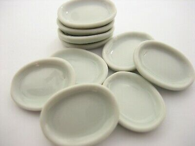 10x30mm Mini White Oval Plate Dish Dollhouse Miniature Kitchenware Ceramic 10831
