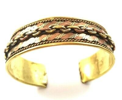 Vintage Copper Palestinian Heritage Bracelet Old Jewelry Cuff Brass Bangle Used