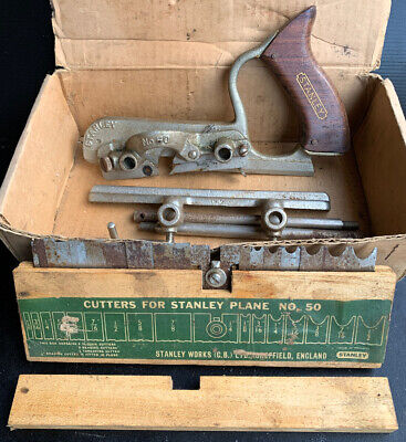 Stanley Plough Plane No.50 hand tool In Box with Cutting Blades