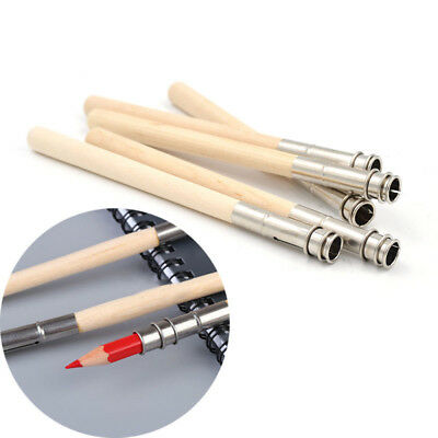 Painting Pencil Extender 5 Pc Adjustable Wooden Lengthener Holder Drawing Tool