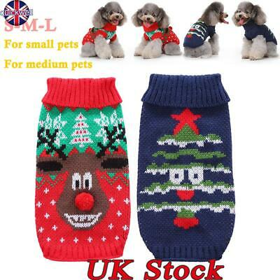 Pet Cat Dog Knitted Jumper Sweater Winter Puppy Warm Coat Jacket Xmas Clothes UK