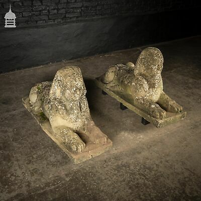 Pair of Weathered Reconstituted Stone Sphinx Garden Statues