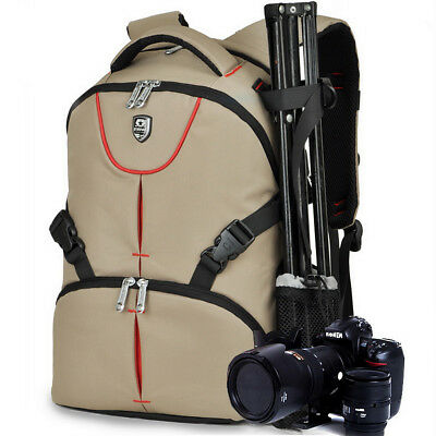 Women Digital Camera Bag DSLR Khaki Photography Backpack for Nikon SLR Canon EOS