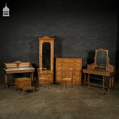 Stunning 19th C Aesthetic Movement Pitch Pine 7 Piece Bedroom Suite