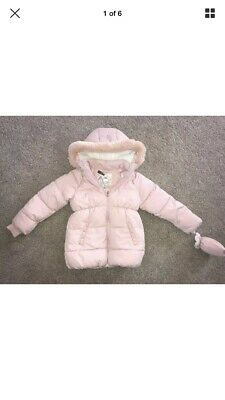 NEW With Tags Girls BLUSH PINK Coat Jacket Fur Hood Age 5-6 Years Rose Gold