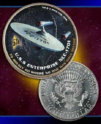 Star Trek Starship Uss Enterprise 50Th Anniversary Half Dollar Collectible Coin