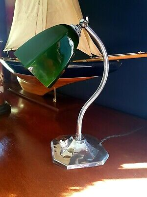 Art Deco 1930s Swan Neck Table/Desk Lamp - Patina Chrome  - Period Glass Shade