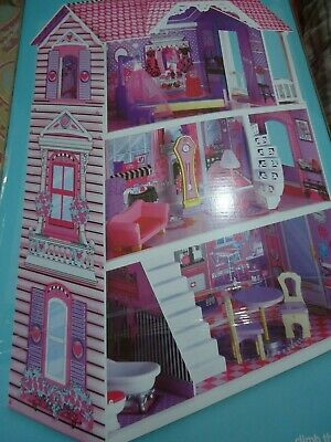 ELC Mothercare Luxury Manor doll house 3 storey wooden pink & purple brand new