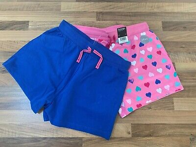Bnwt 2 Pairs Of Girls Summer Cotton Shorts Age 12-13 Years  Blue And Pink Hearts