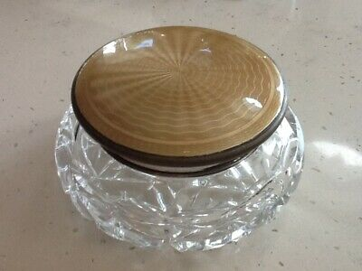 Art Nouveau style cut crystal powder / pin dish with enamelled engine turned lid