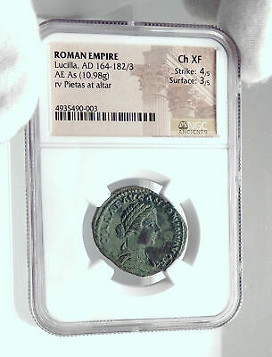 LUCILLA wife of LUCIUS VERUS Authentic Ancient 164AD Rome Roman Coin NGC i80952