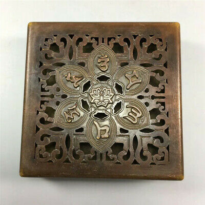 """3.15""""Exquisite Chinese copper Handmade Hollowing out box incense burner"""