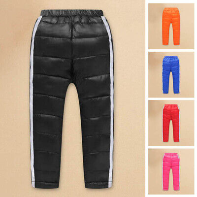Mens Puffer Duck Down Pants Winter Warm Outdoor Trousers Elastic Waist Thicken