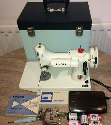 "White Singer 221K Featherweight Sewing Machine"" with attachments & Instructions"