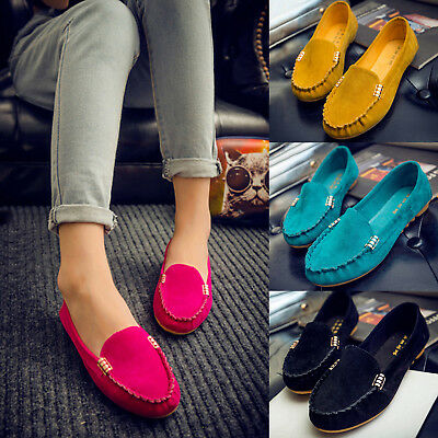 Womens Ladies Moccasin Loafers Flat Pumps Anti Skid Comfy Slip On Shoes Soft UK