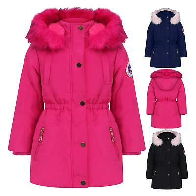 Girls Coat Kids Fleece Parka Jacket Long Faux Fur Hooded Winter School Anoraks