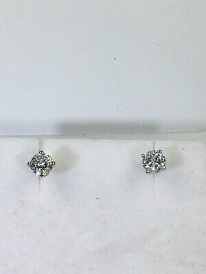 2/3 ct NATURAL DIAMOND stud earrings SOLID 14k white GOLD