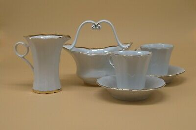 Korosten Porcelain Russian Tea Set White Gold Trim (6pcs)