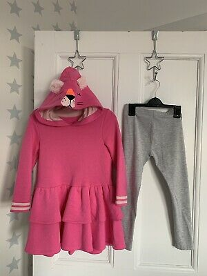 Marks & Spencer Cat Pink Long Hoodie Dress Leggings Outfit Age 5-6 Immaculate