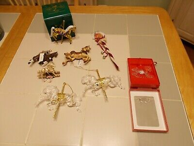 Lot Of 8 Horse Ornaments/Carousel/Rocking