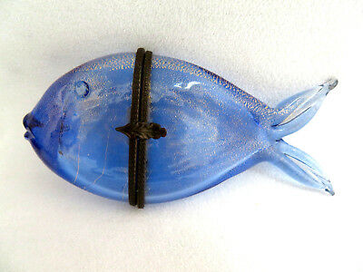 Vintage Hand Blown Murano Glass Italy ~ Blue Fish Hinged Lid Trinket Box