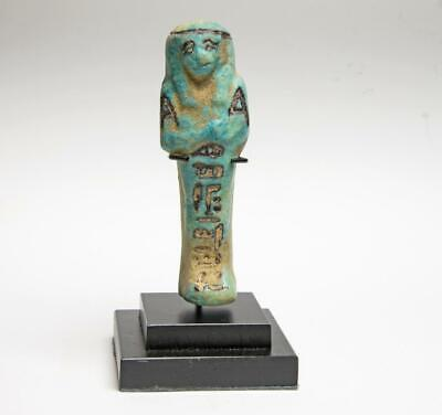 Ancient Egyptian faience shabti with hieroglyphs: Circa 6th-4th century BC.