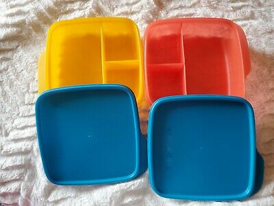 TUPPERWARE 2019 LUNCH-IT DIVIDED CONTAINERS Set of Two Papaya Peacock Hot Pepper