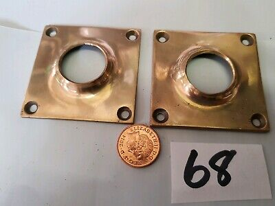 Vintage Old CAST BRASS BACK PLATE for GLASS or brass door knobs 56 x 18mm C1910.
